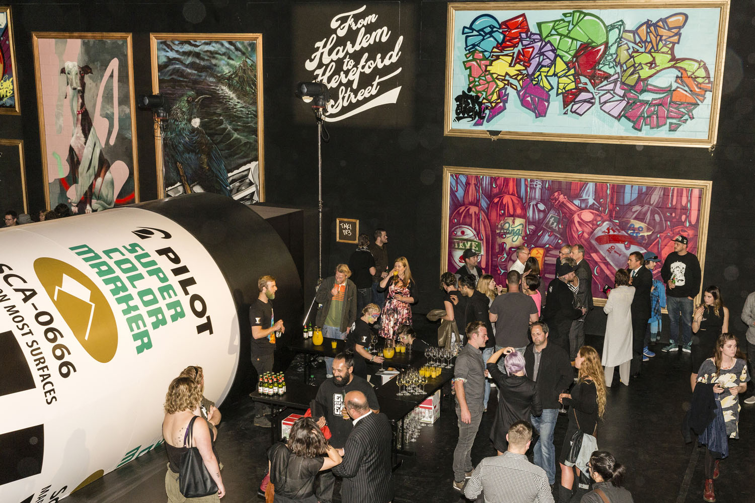 The completed giant marker pen opening night, Spectrum 2016 Christchurch – credit Luke Shirlaw