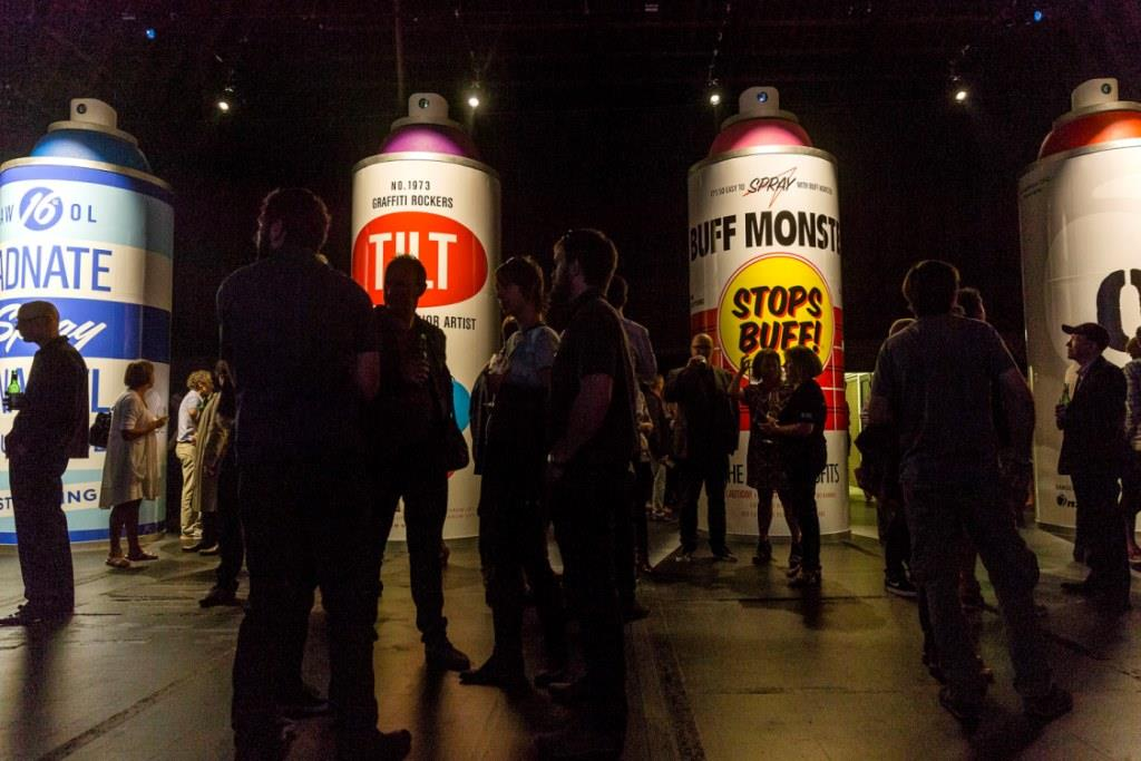 Giant spray cans completed on opening night, Spectrum 2015 Christchurch – credit Luke Shirlaw