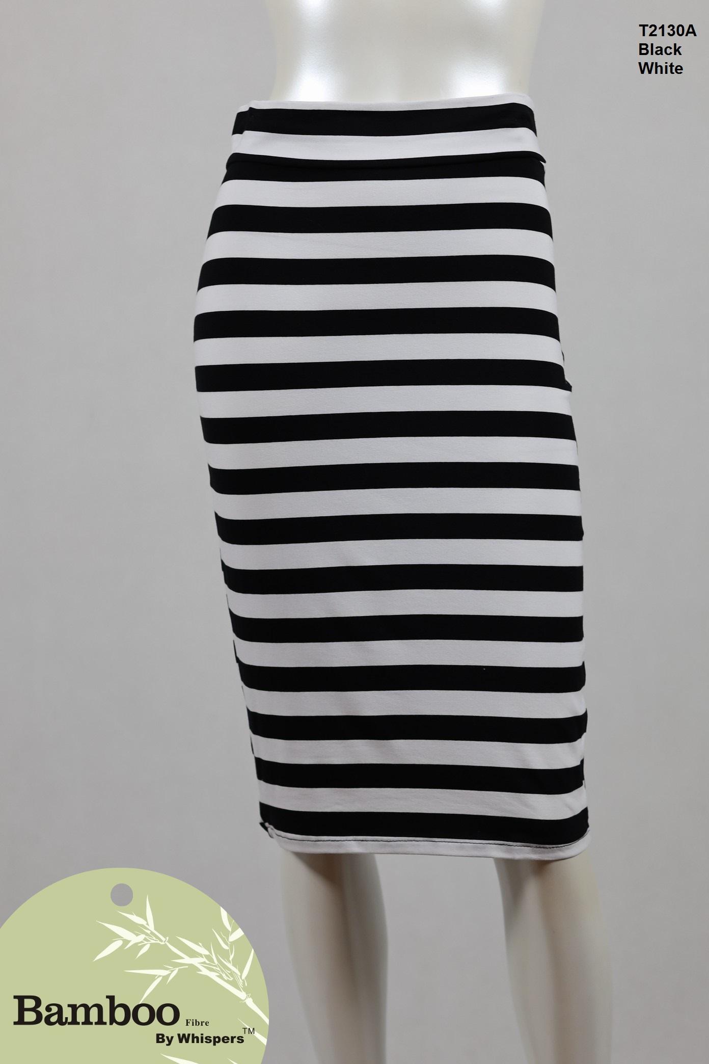 T2130A-Bamboo Skirt-Black White.JPG