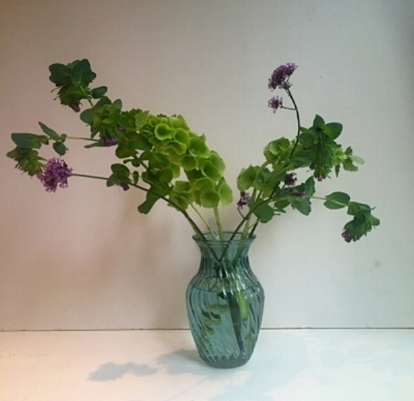 Step 1 - Take a clean vase and fill it with water. If you have been provided flower food add this to the water but the key to long lasting flowers is to change the water regularly, no flower food required! Start to build a framework for the style of arrangement you want - here we are going slightly asymetrical. We have created our framework with Molucella, Verbena and Cerinthe...