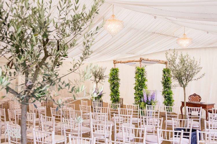 Eight Olive trees were decorated with fairy lights and placed around the marquee....