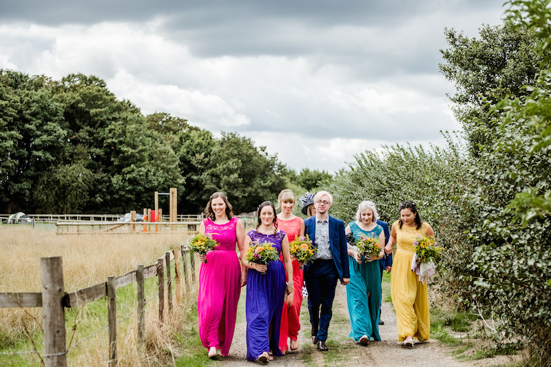 I love this shot from Sarah & Johnny's summer wedding in Hertfordshire....such a great mix of colour for this beautiful boho wedding using seasonal British Flowers.....Photography by  Martin Phelps Photography
