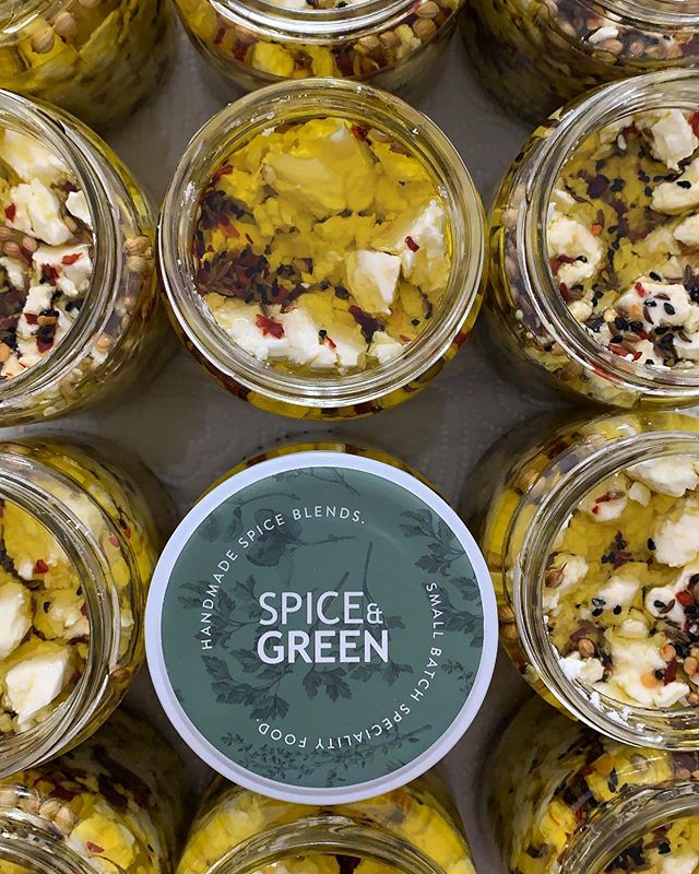 THIS SATURDAY at @georgeandjoseph I'll be popping up at my old workplace selling some @spiceandgreen treats! I've crafted dozens of jars of Marinated Feta for the wonderful people of Leeds! Stop by and pick up a jar of Lemon Thyme & Za'atar, Spicy Garlic Harissa or Rosemary & Blood Orange for £7 or take home all 3 for £20! I hope to see you there! — — #feta #marinatedfeta #charcuterie #picnicfood #spicy #garlic #harissa #lemonthyme #zaatar #fetacheese #artisanfood #smallbatch #handmade #specialtyfood #cheesemonger #jars #oliveoil #healthyfats #greekfeta #leeds #chapelallerton #madeinyorkshire #cheeseboard #charcuterieboard #gourmetcheese #freshherbs #preserves