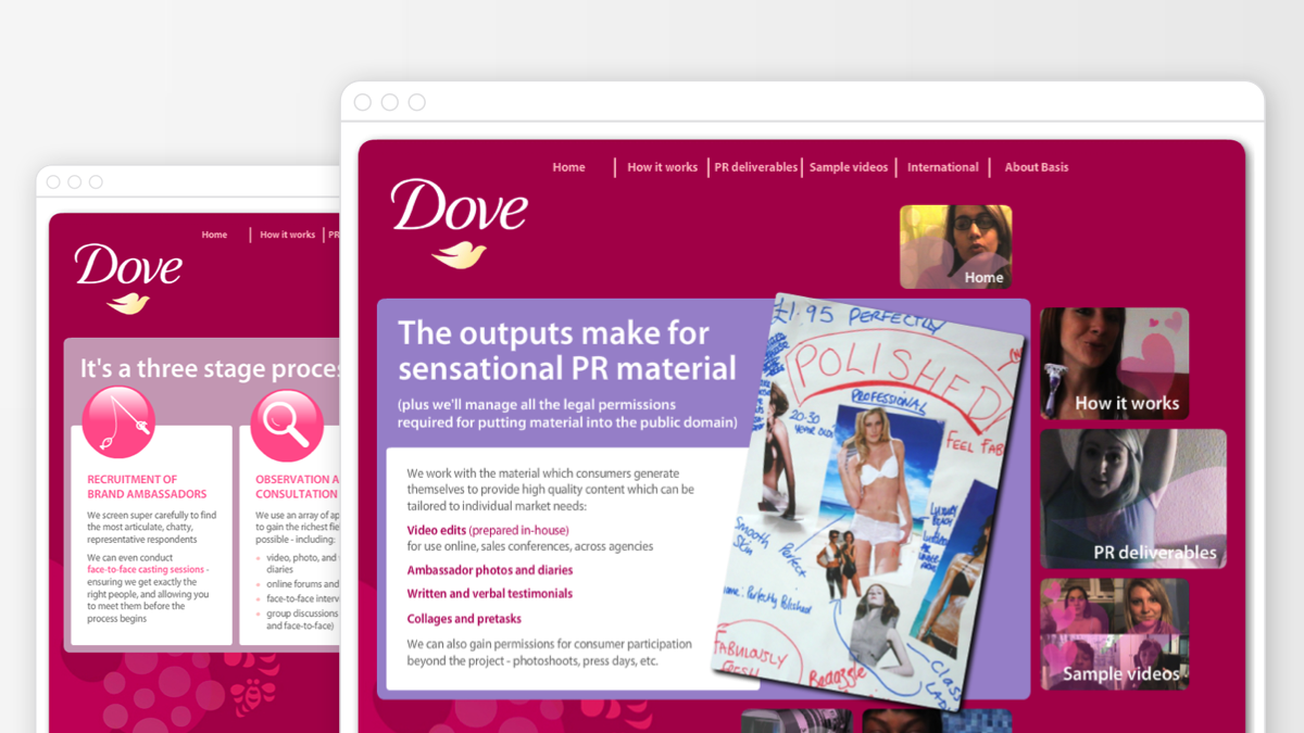 Microsite built for Unilever to create internal buzz around an international project for Dove