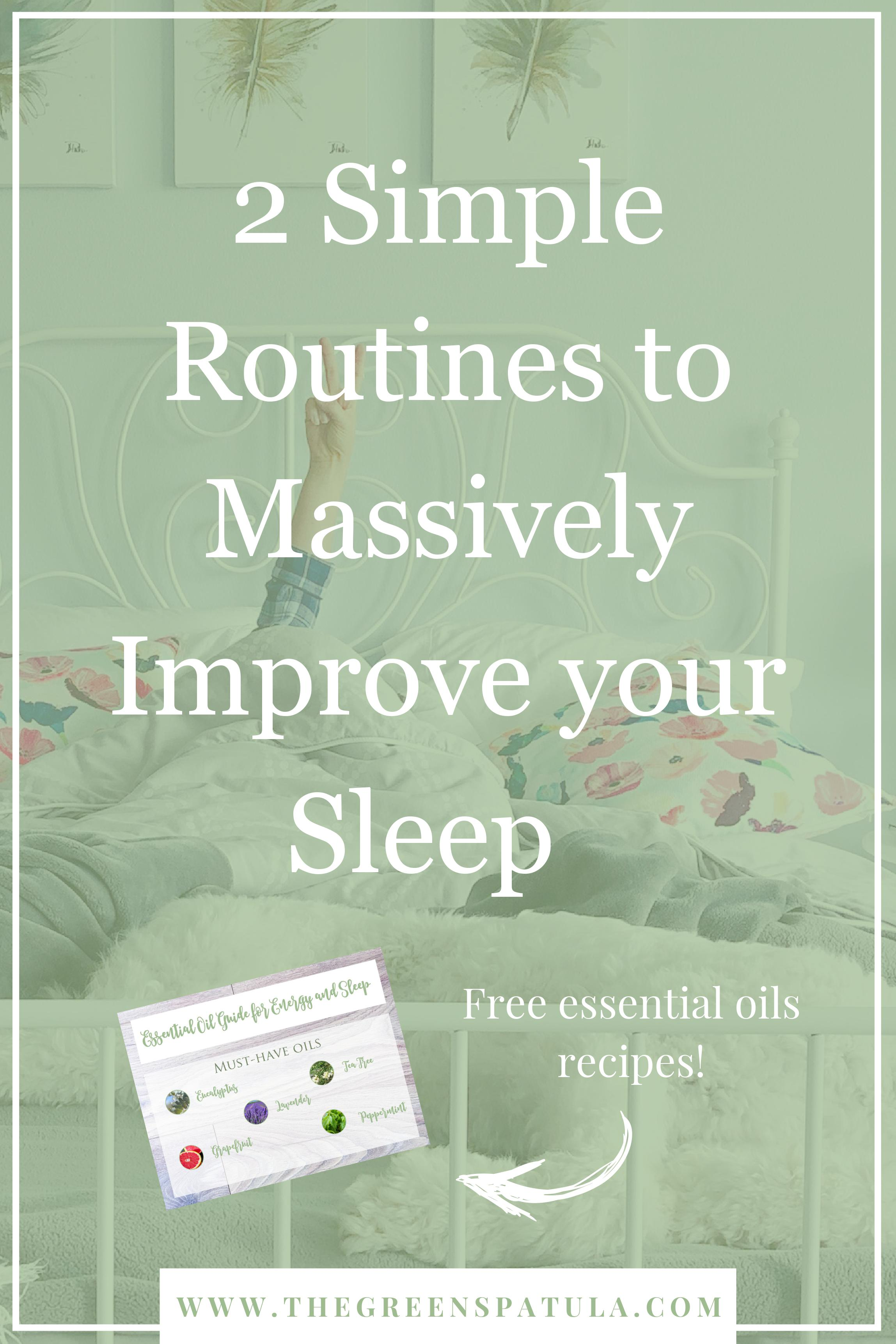 2 simple routines to massively improve your sleep - Create relaxing evening and morning routines so you can fall asleep quicker and wake up refreshed (even if you're not a morning person). Discover why professional athletes and celebrities like Tom Brady, Beyonce, and Jennifer Lopez prioritize sleep as much as training or rehearsing! Free essential oil download so you can drift off to sleep on a cloud of relaxation. #essentailoils #yl #sleep #bettersleep #plantbased #holistic #holistichealth #stressless #weightloss