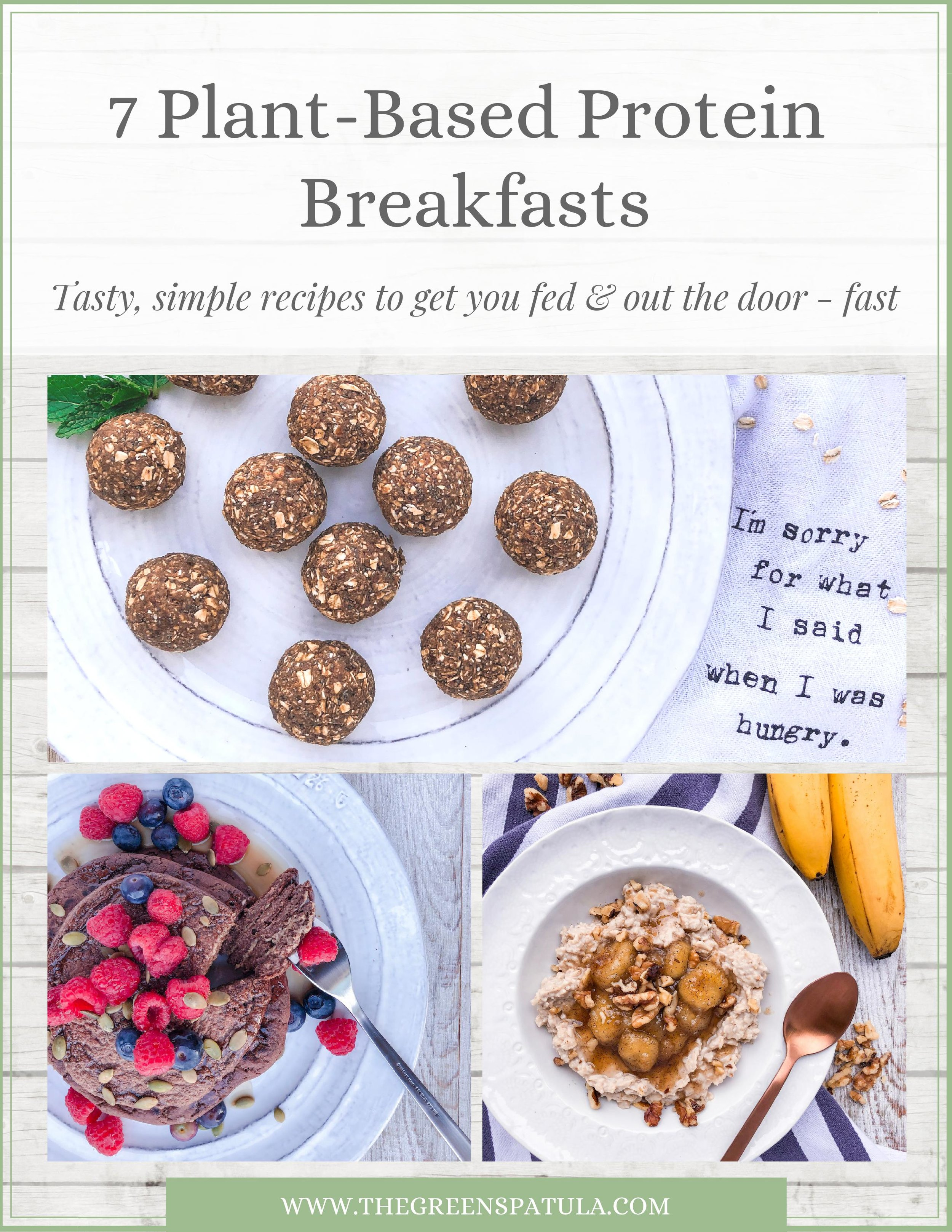 7 Plant-Based Protein Breakfasts - Download this FREE guide filled with 7 tasty plant-based breakfast recipes to get you fed and out the door - FAST! Simplify your mornings by meal prepping your breakfasts so you can fuel up for the day ahead and curb midday cravings and energy slumps. All recipes are vegan, plant-based, gluten-free, and delicious. Great for kids and adults! #plantbased #healthybreakfast #protein #vegan #glutenfree #breakfast #mealprep #freedownload