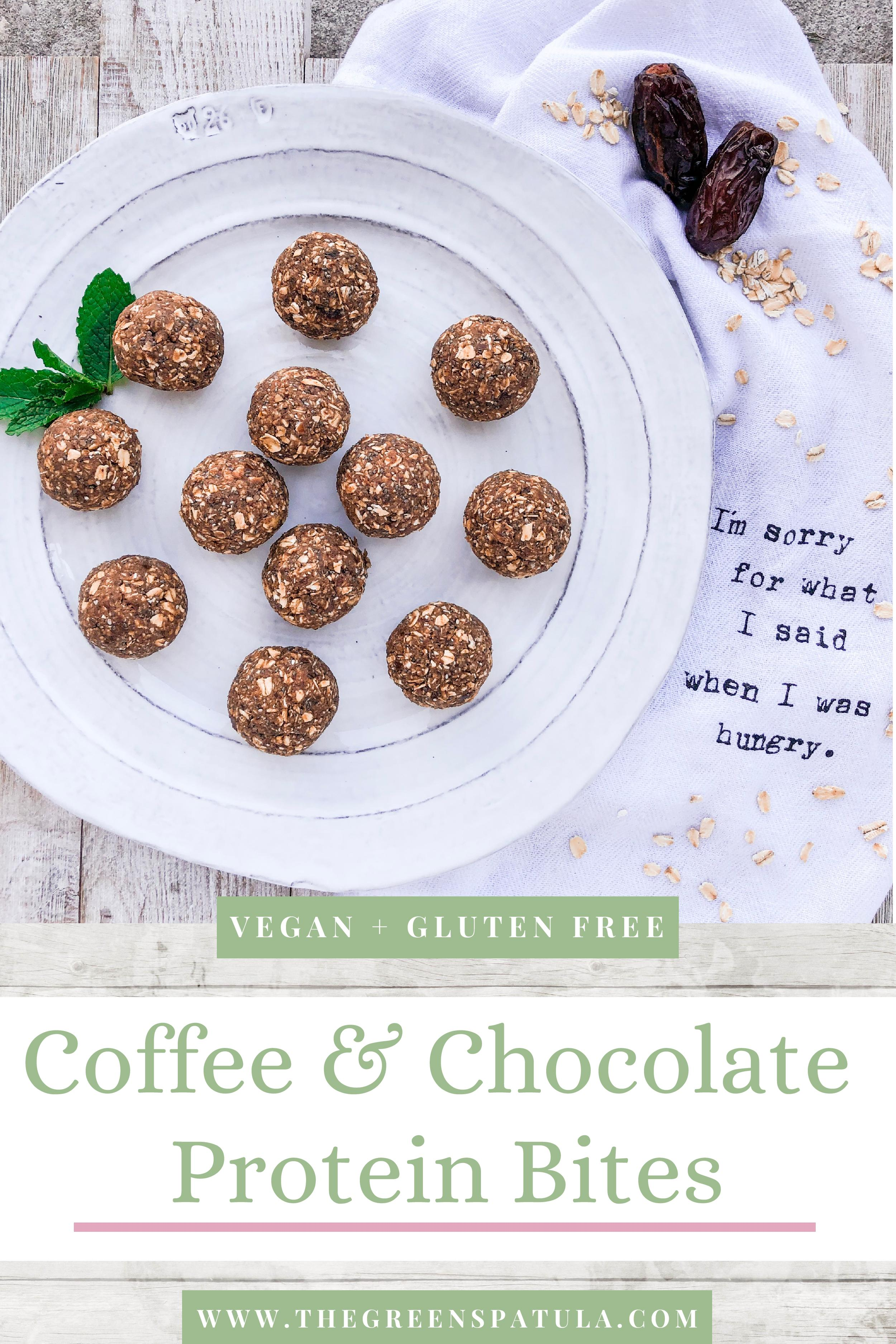 Coffee and Chocolate Protein Bites - Sweet, tasty, healthy, and plant-based breakfast to start your morning off with a smile. Made with all natural ingredients like rolled oats, dates, chia seeds, plant-based protein powder (not chalky). Great for breakfast or a snack! #kidapproved #vegan #plantbased #glutenfree #healthybreakfast #freedownload #healthysnack