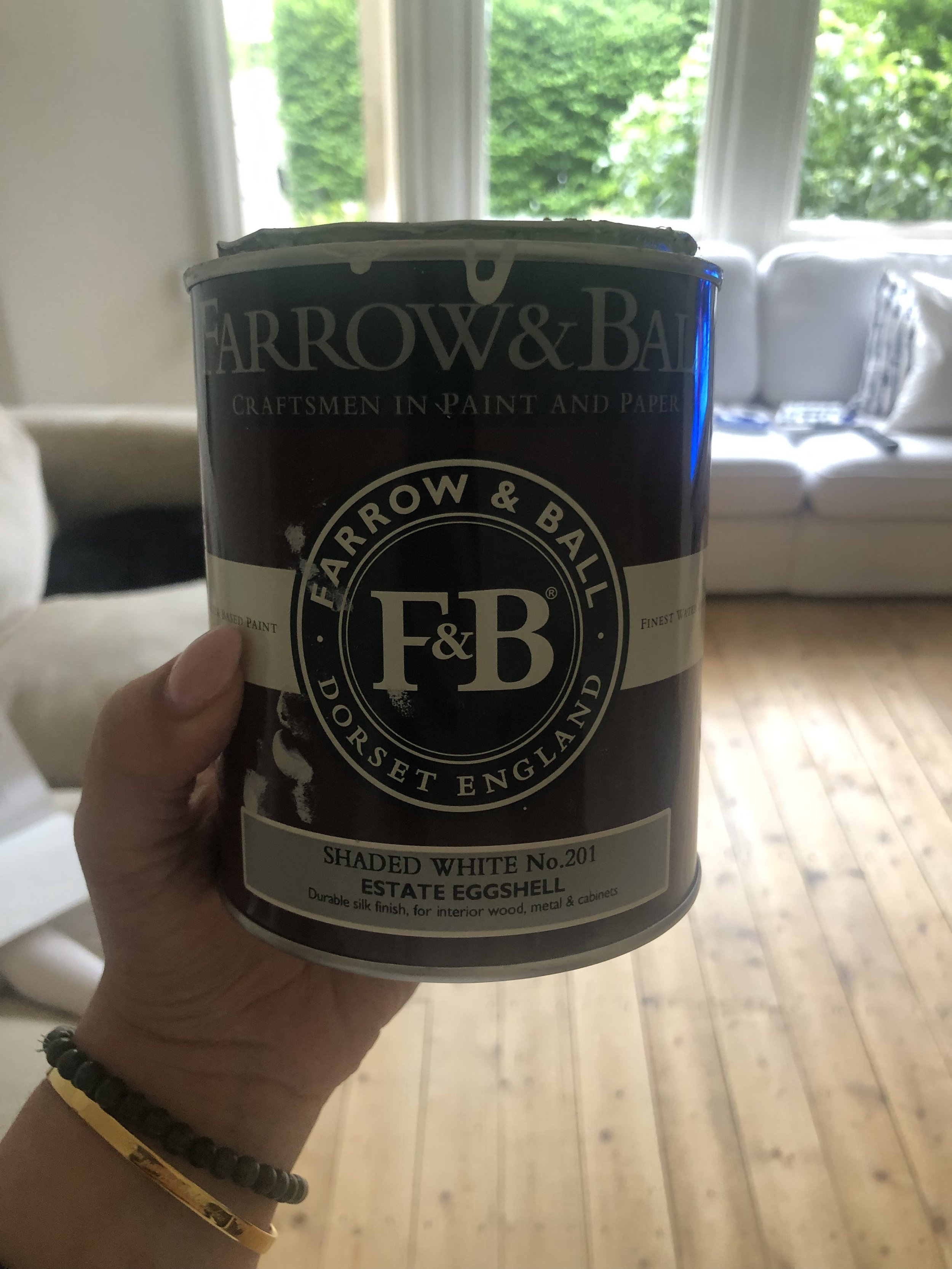 We chose Farrow & Ball Estate Eggshell in Shaded White for windows, door and skirting boards