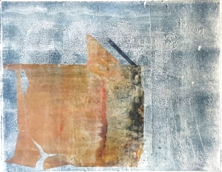 On cracked shoulders. Encaustic Monotype collage on Panel. NOC2017 42x59cm unframed.jpg