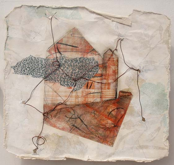 All bound up and papered over. Wax  & pigment monotype, recycled wallpaper, wire. by Niamh O'Connor - Copy.jpg