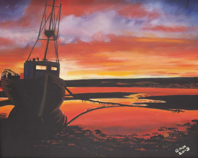 'Sunset at Low Tide', Regina Eracleous, oil on canvas.jpg