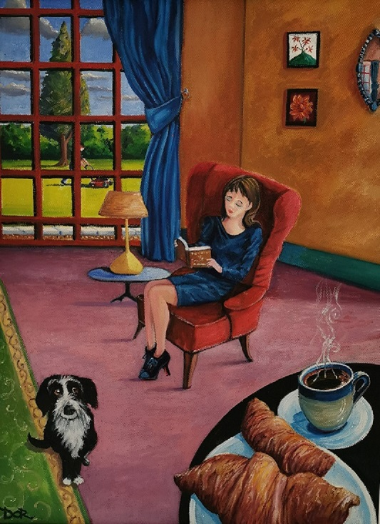 'Coffee and Croissants',Desie O'Reilly, Oil on canvas.jpg