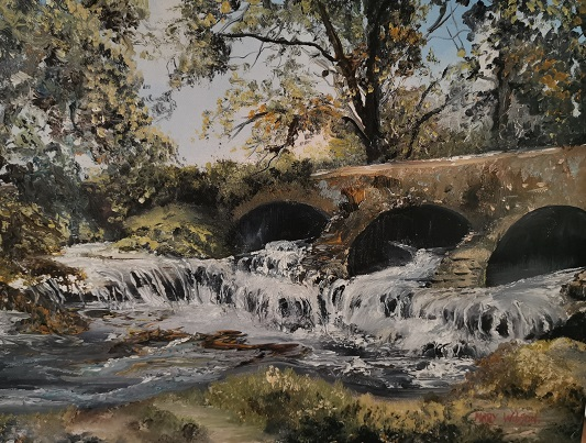 'Killukin Cascade Waterfall, Carrick on Shannon' Mary Wilson, Oils.jpg