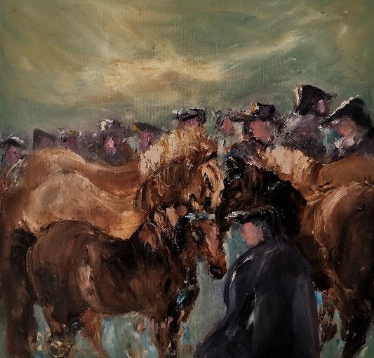 'Leitrim Horse Fair',Marian O'Donoghue, Oils.jpg