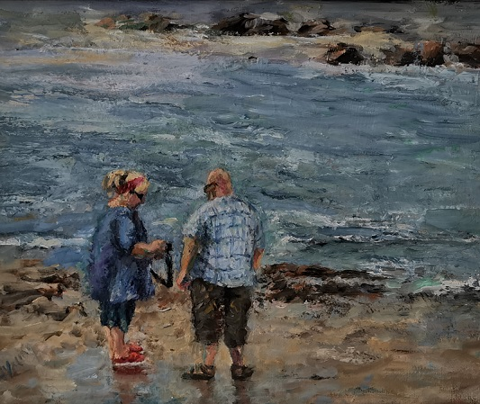 'Strolling on the beach',Freda Young ,Oils.jpg