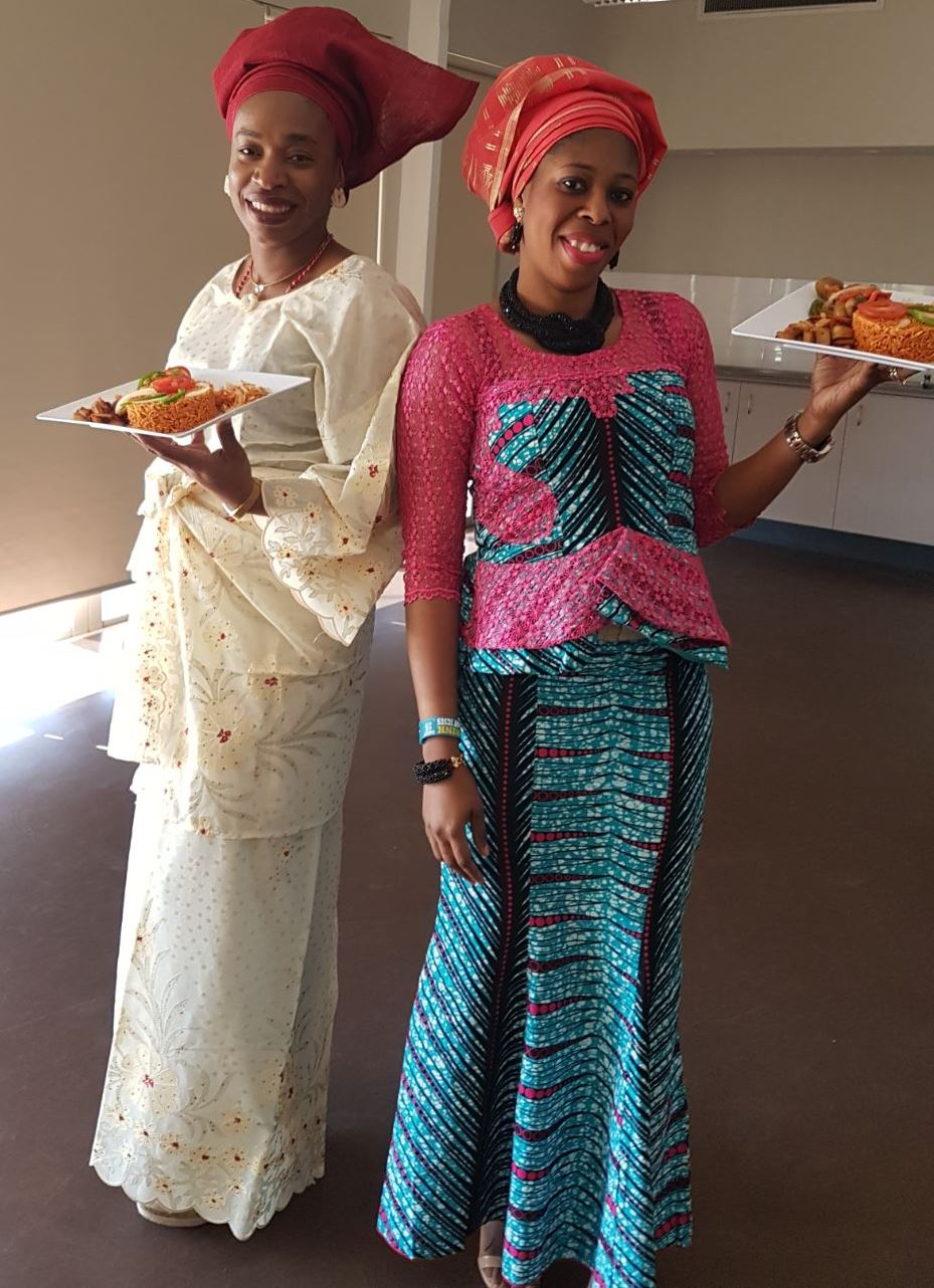 Cassandra (left) and Tope (right) from Nigeria cooked the winning jollof at the 2017 JollofWars held in Auburn.