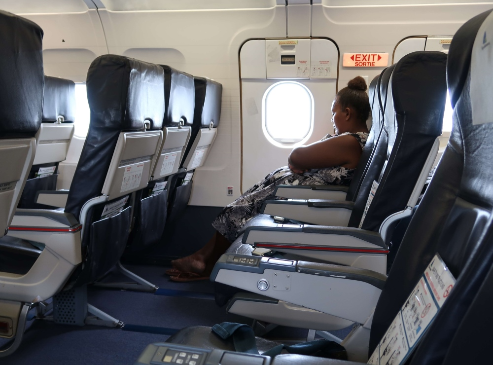 The flight from Honiara to Tarawa seemed relatively empty with only about 25 people on board, and staff say it never gets much busier than that. But they make up for the lack of passengers with crazy amounts of cargo- including literally tons of kava, the local beverage of choice