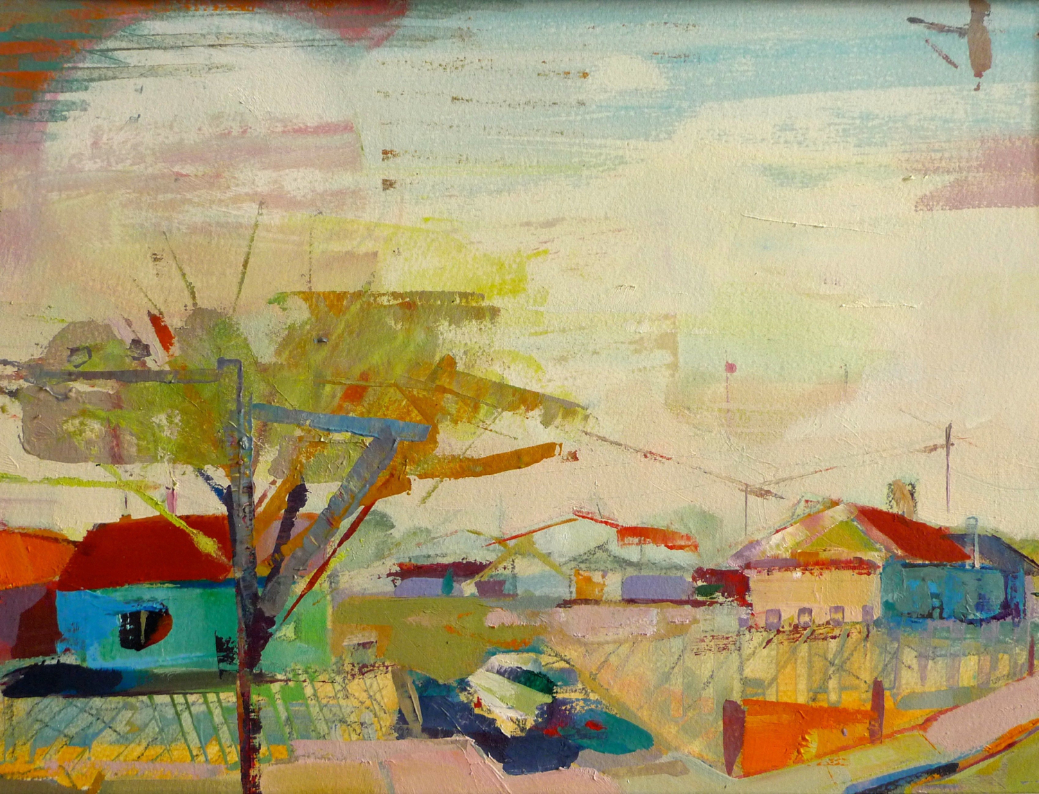"Lubbock, TX  , 2016 Oil on paper 11"" x 15"""