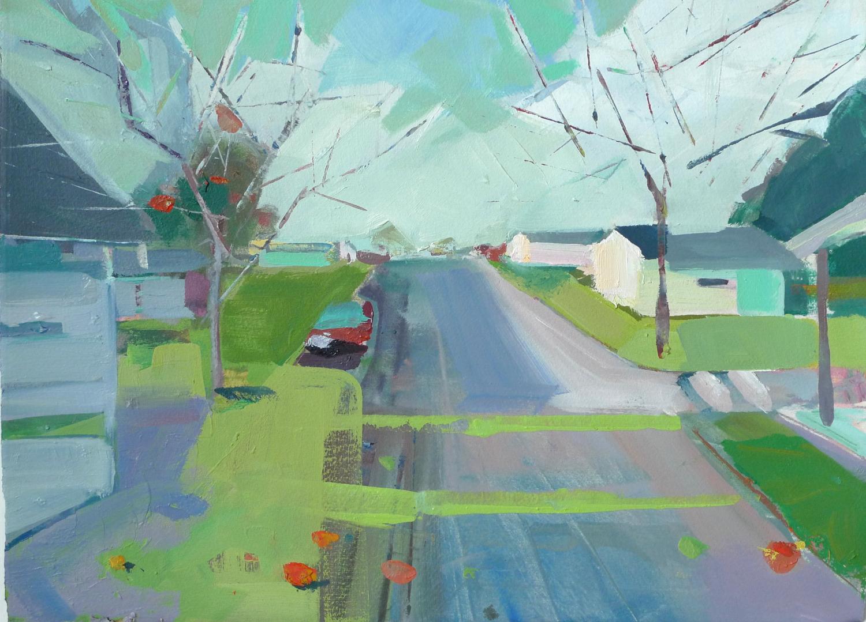 """Moose Lake, MN  , 2014 Oil on paper 11"""" x 15"""""""