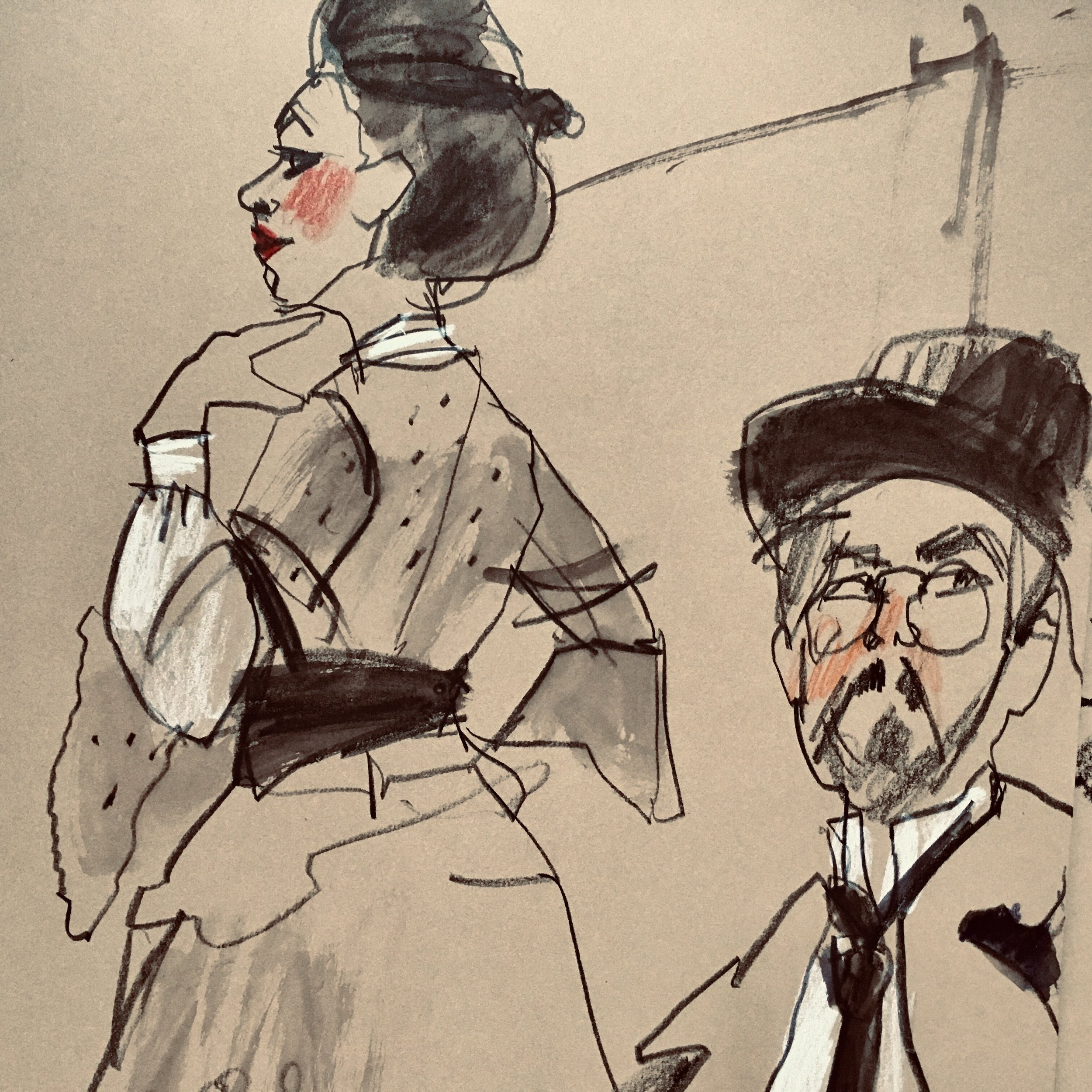Toulouse-Lautrec Night  at Society of Illustrators. Charcoal and chalk on paper