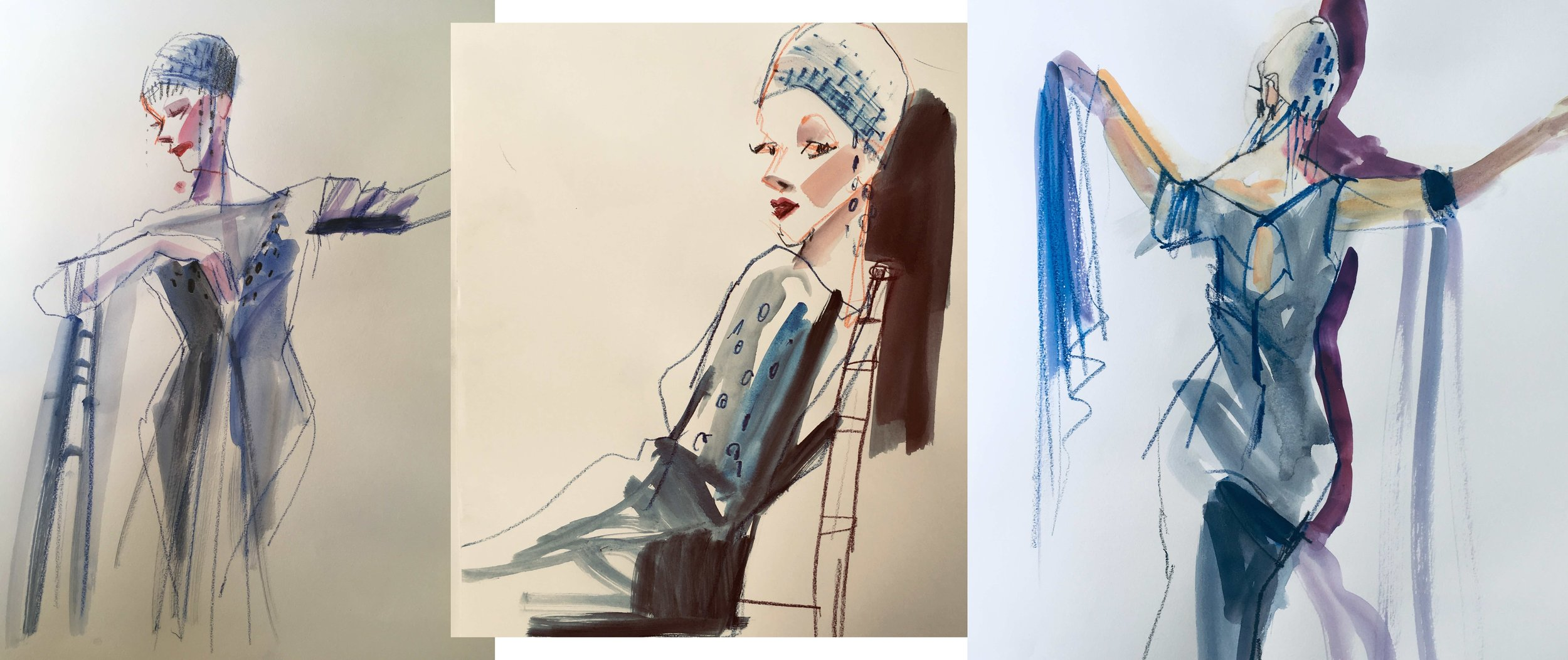 Fashion Sketch Night  at Society of Illustrators. Color pencil, ink wash on paper
