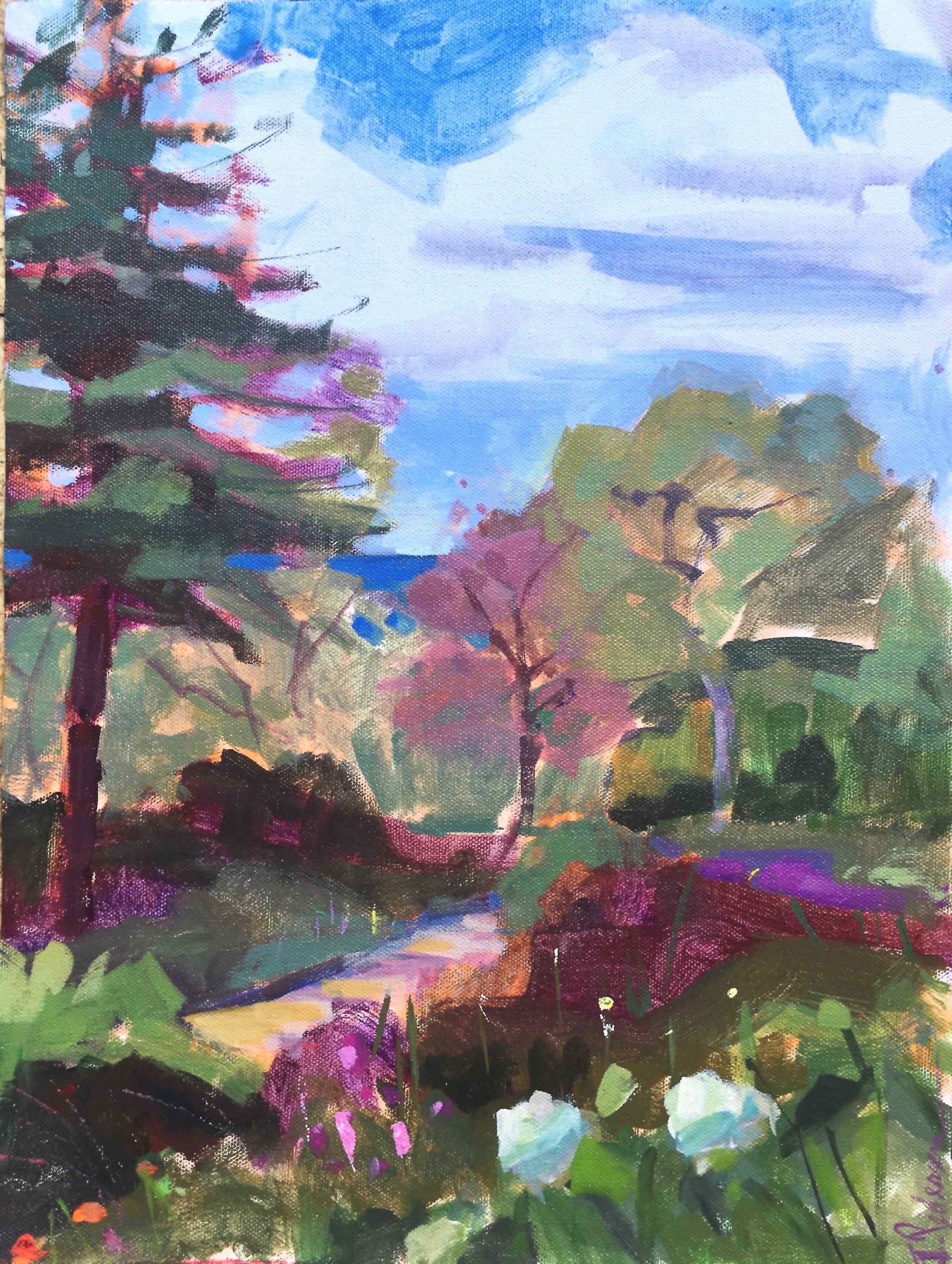 Ft. Tryon Garden View , 2019, 16 x20, acrylic