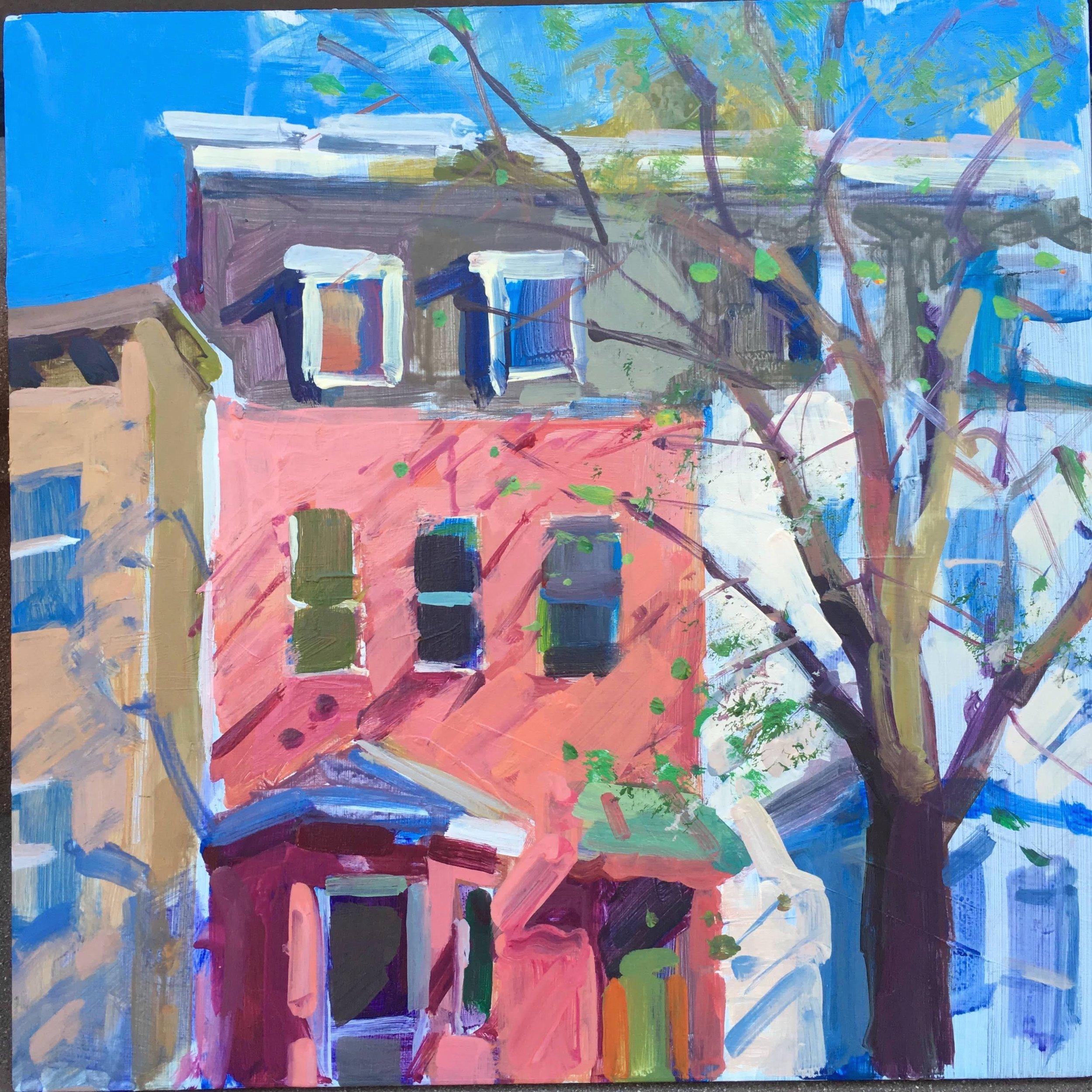 """Sunlit Houses , 2019, 12 x 12"""", acrylic on wood"""