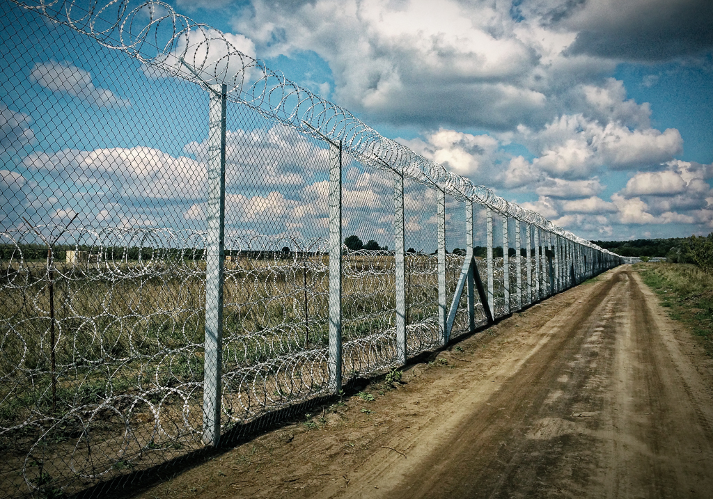Border fence along the Hungarian-Serbian border