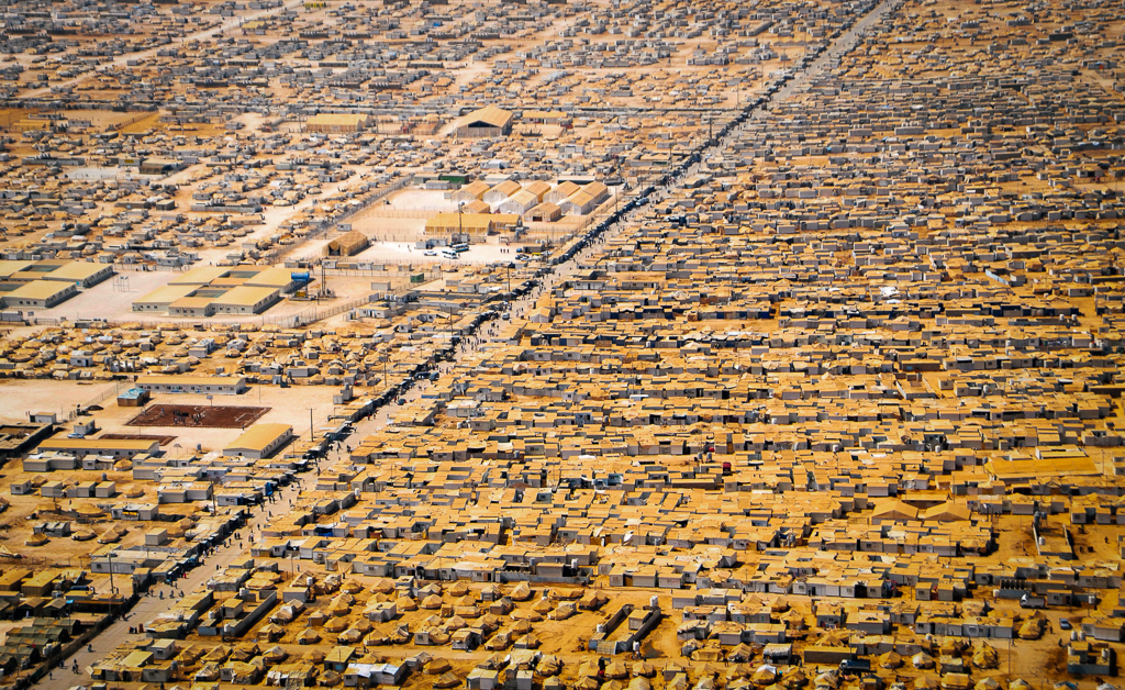 An aerial view of the Za'atri Refugee Camp, Jordon