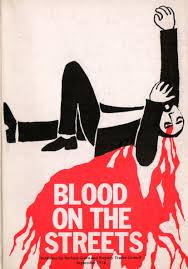 Blood on the street by artist Dan Jones