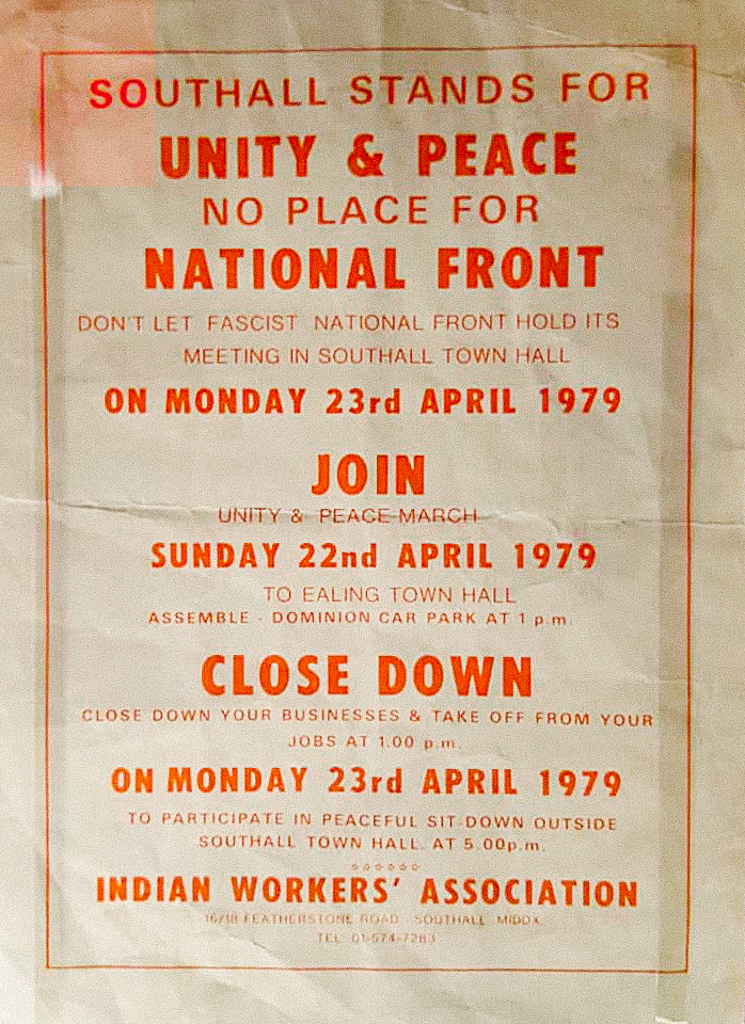 Image 1 : Poster from April 1979 produced by Indian Workers Association @IWA Southall