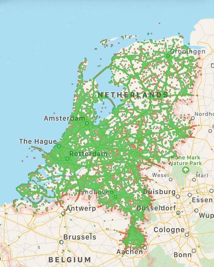Onafhankelijke dekkingskaart Vodafone M2M via OpenSignal