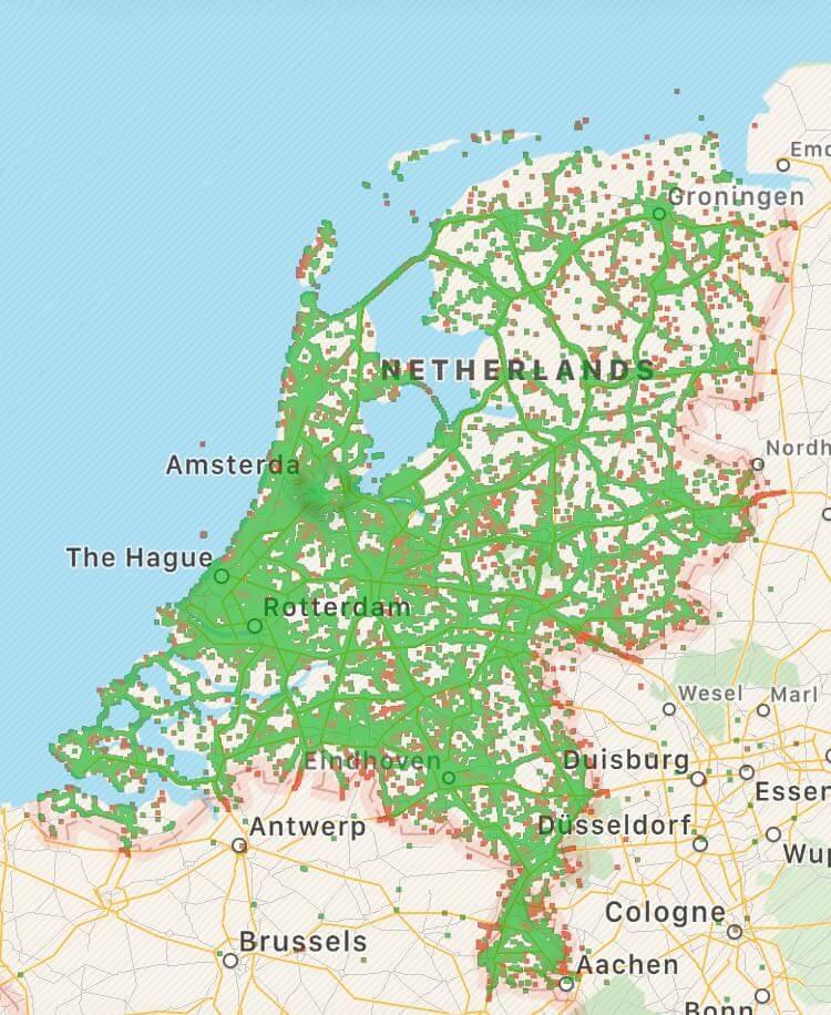 Onafhankelijke dekkingskaart T-Mobile M2M via OpenSignal