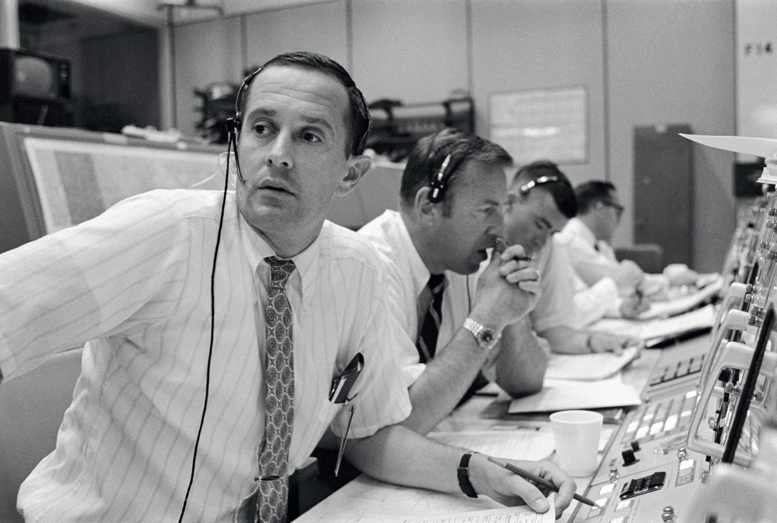 Duke, Lovell, and Haise at the Apollo 11 Capcom, Johnson Space Center, Houston, Texas