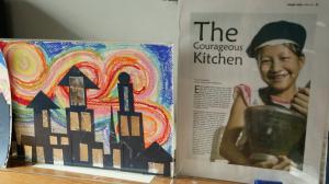 News feature on 'The Courageous Kitchen', a learning program to teach kids life skills like teamwork while having fun cooking.