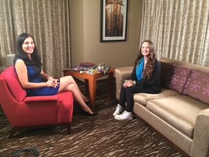 On set of the interview with Anita (left)