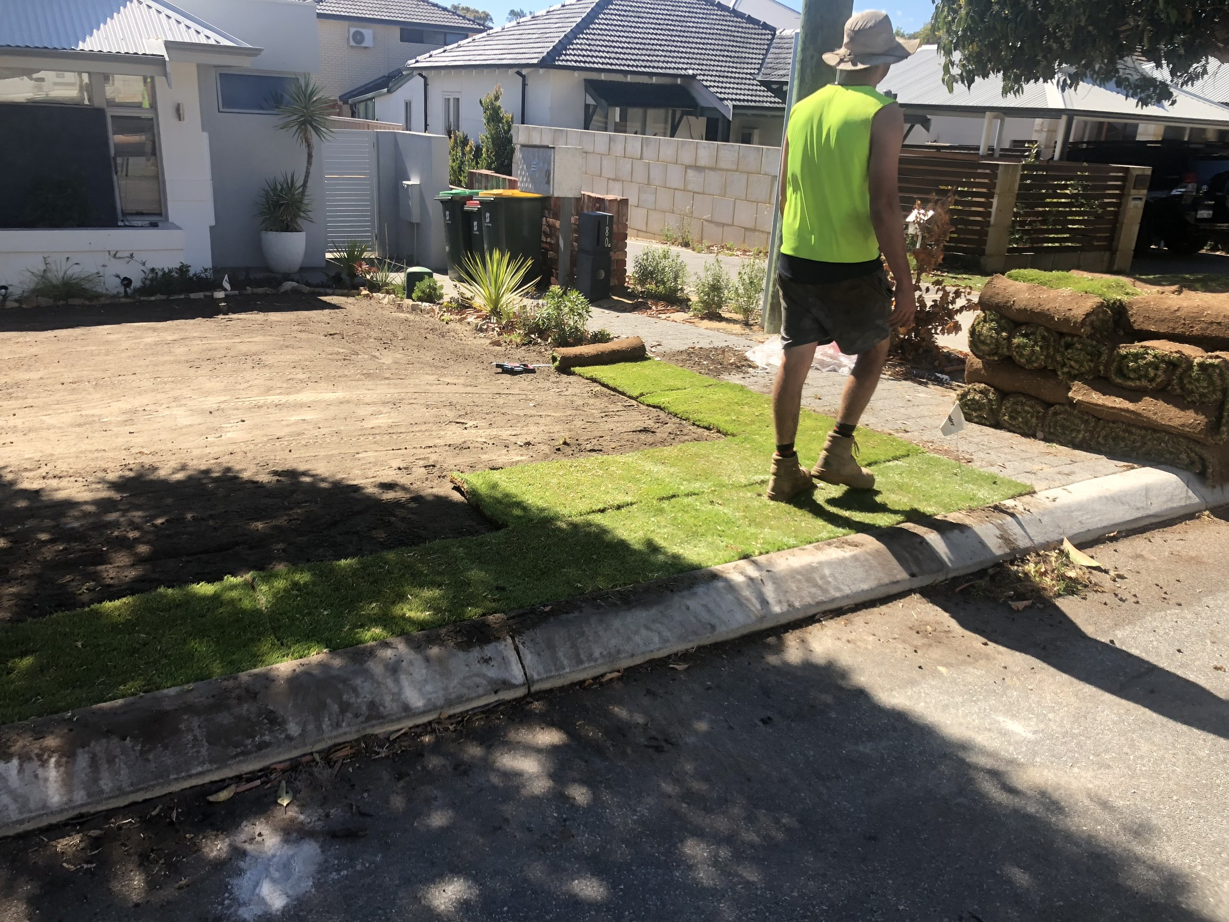 Lawn Installation - We can supply the turf, soil, sand and all associated earthworks.