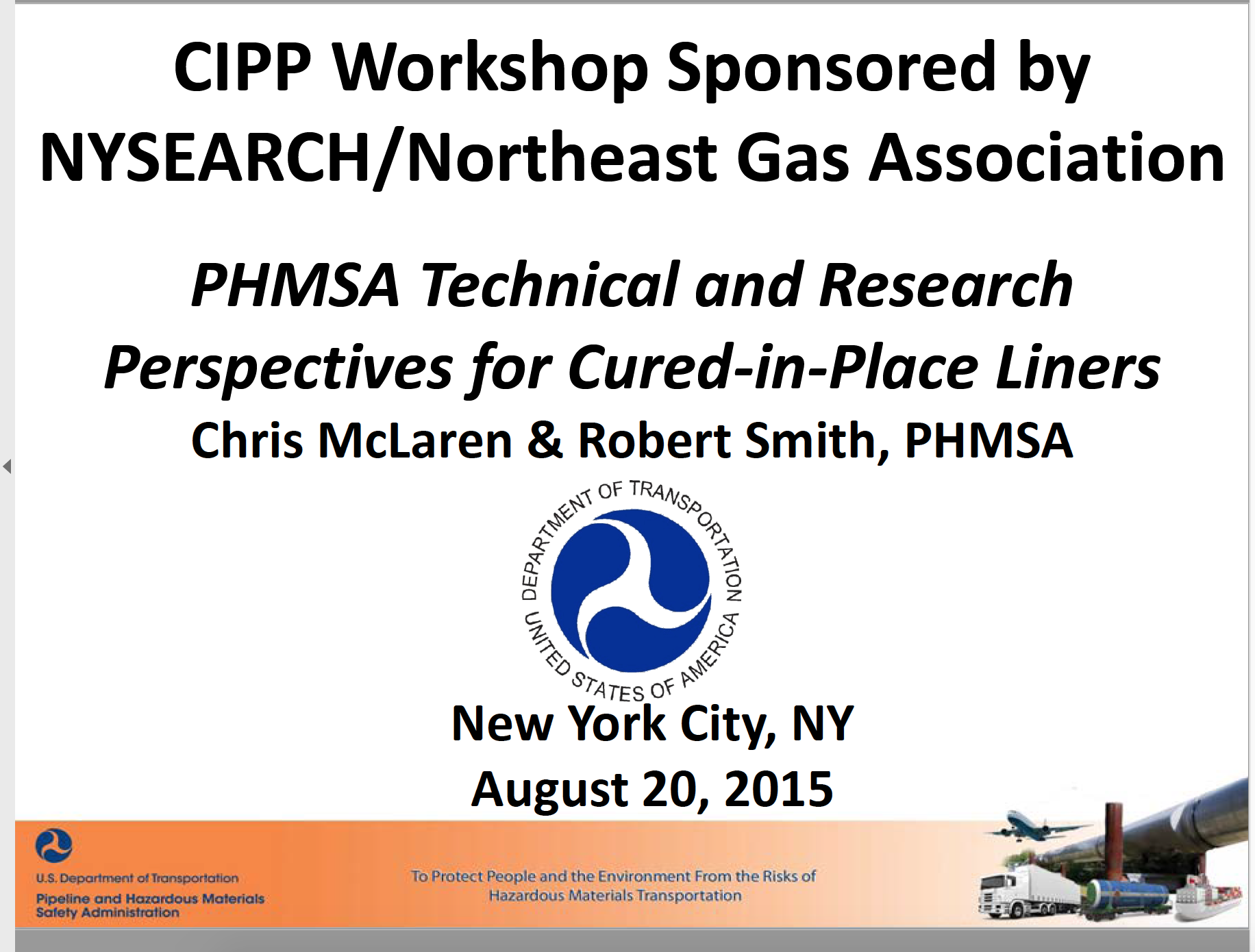 PHMSA Perspectives for CIPL 2015