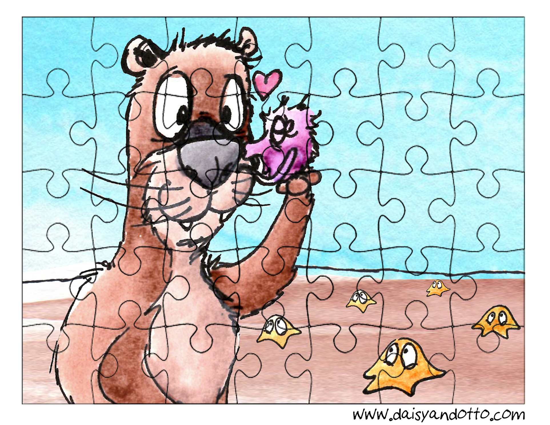 Daisy and Otto Printable Free Ocean Puzzle for Kids
