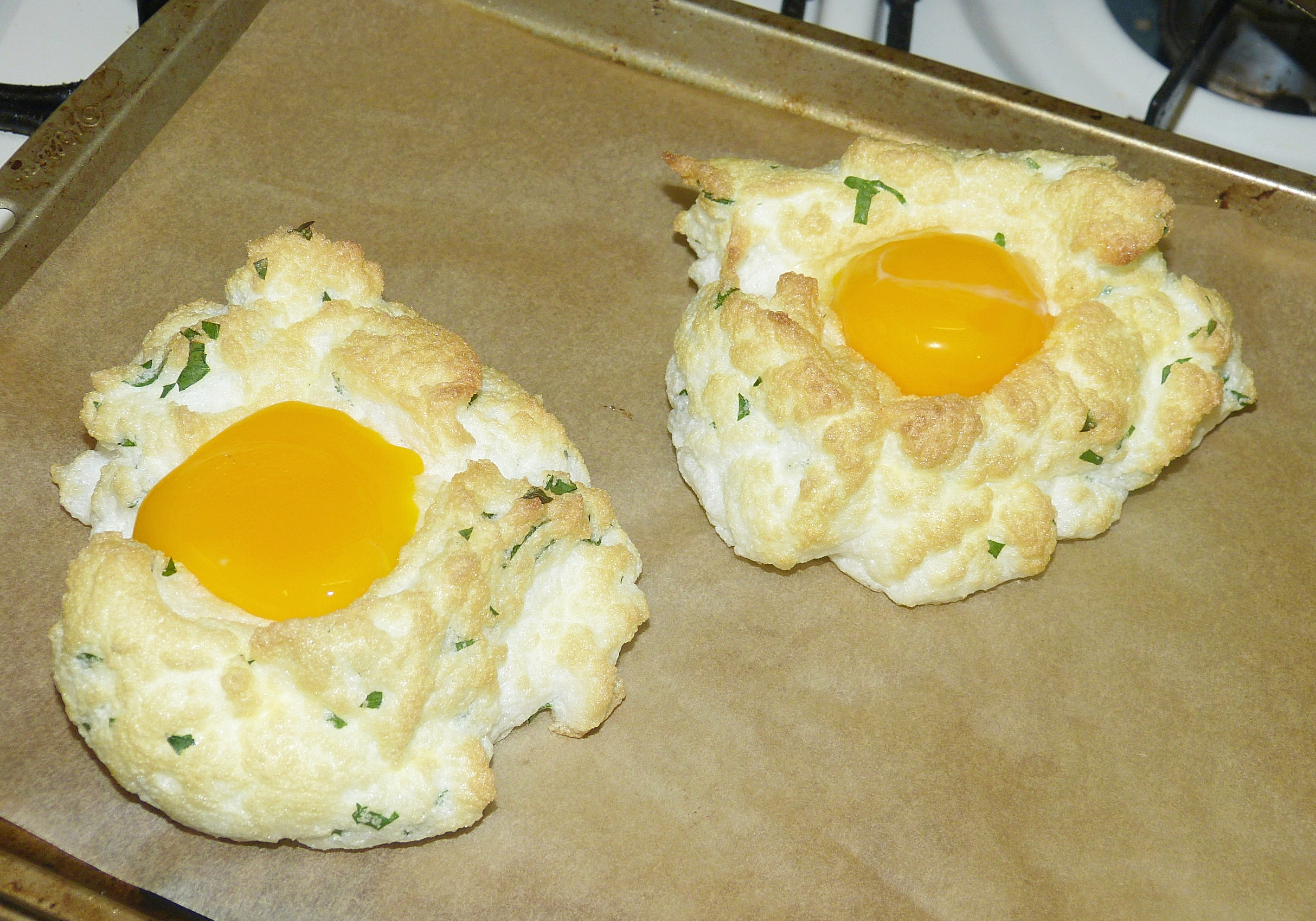 Step 4 - Remove from oven and place yolks into the center of each