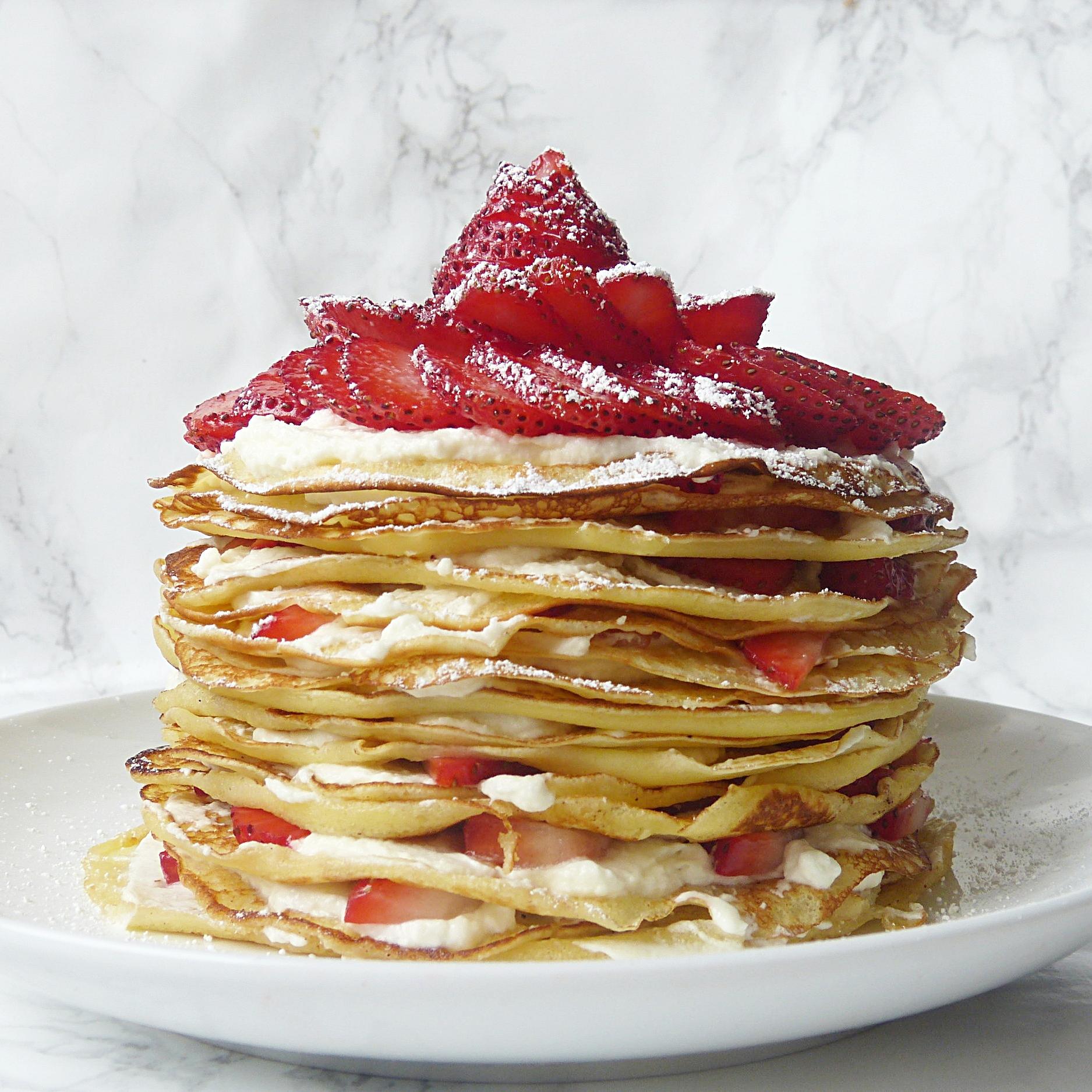 Strawberries & Cream Crepe Cake -