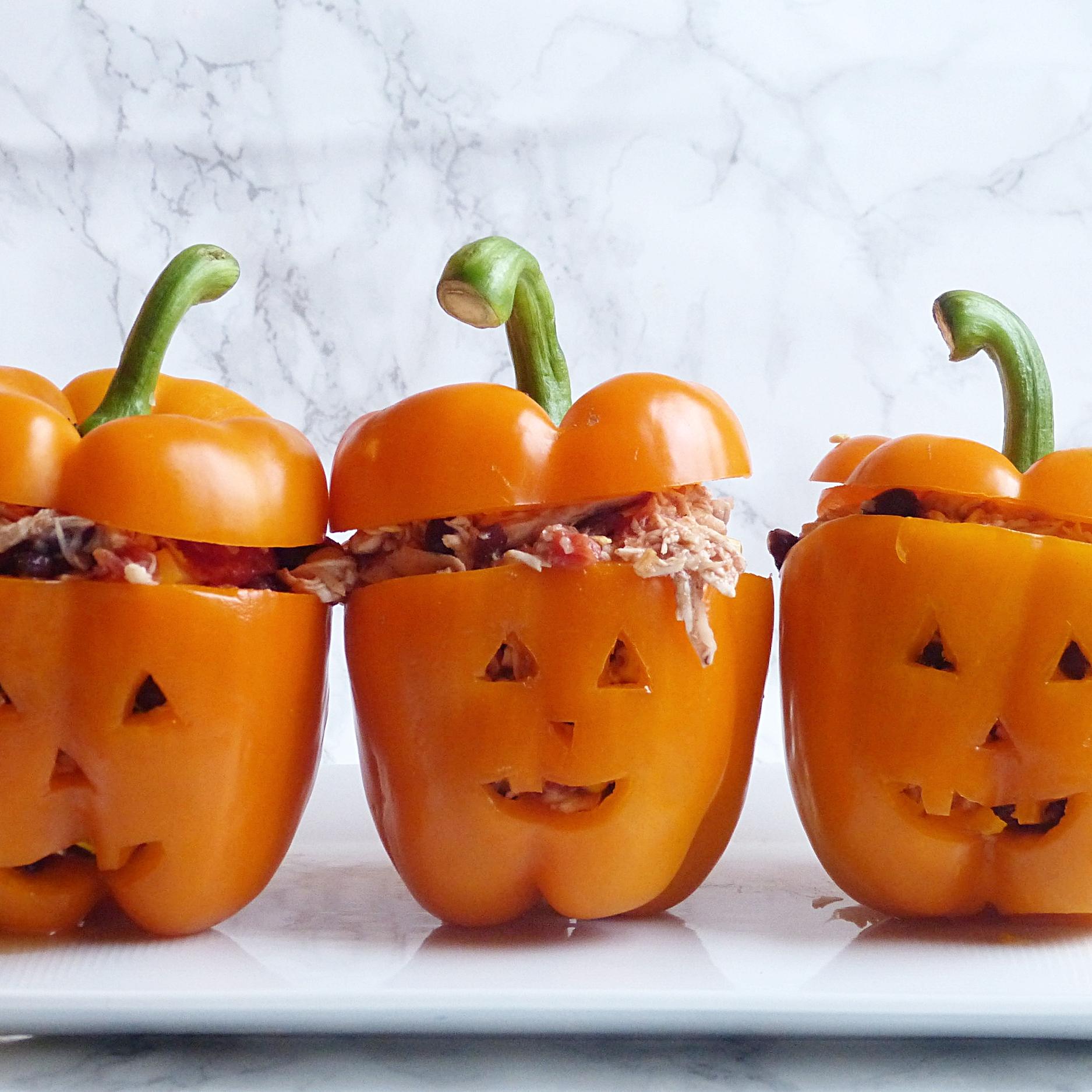 Halloween Chicken Taco Stuffed Peppers -