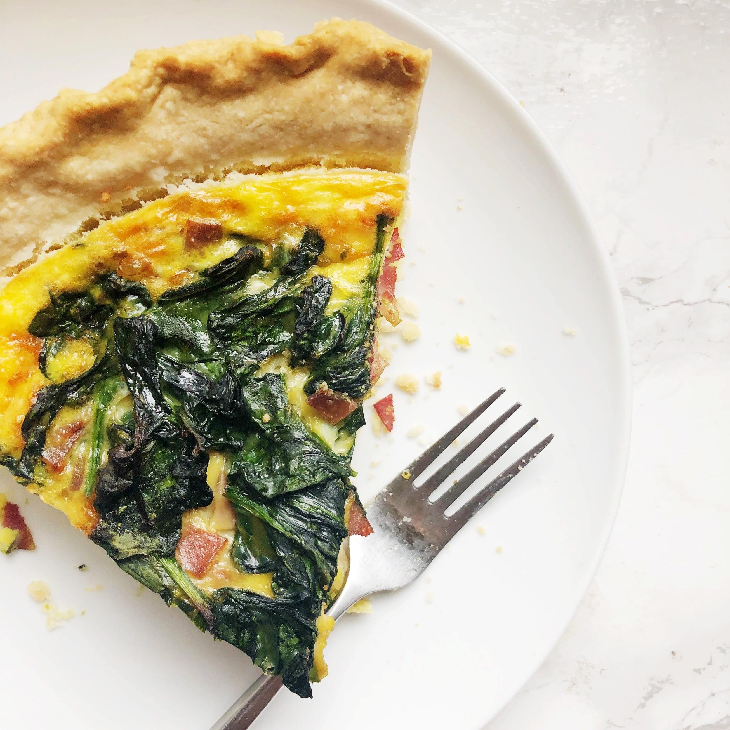 Spinach & Turkey Bacon Quiche -