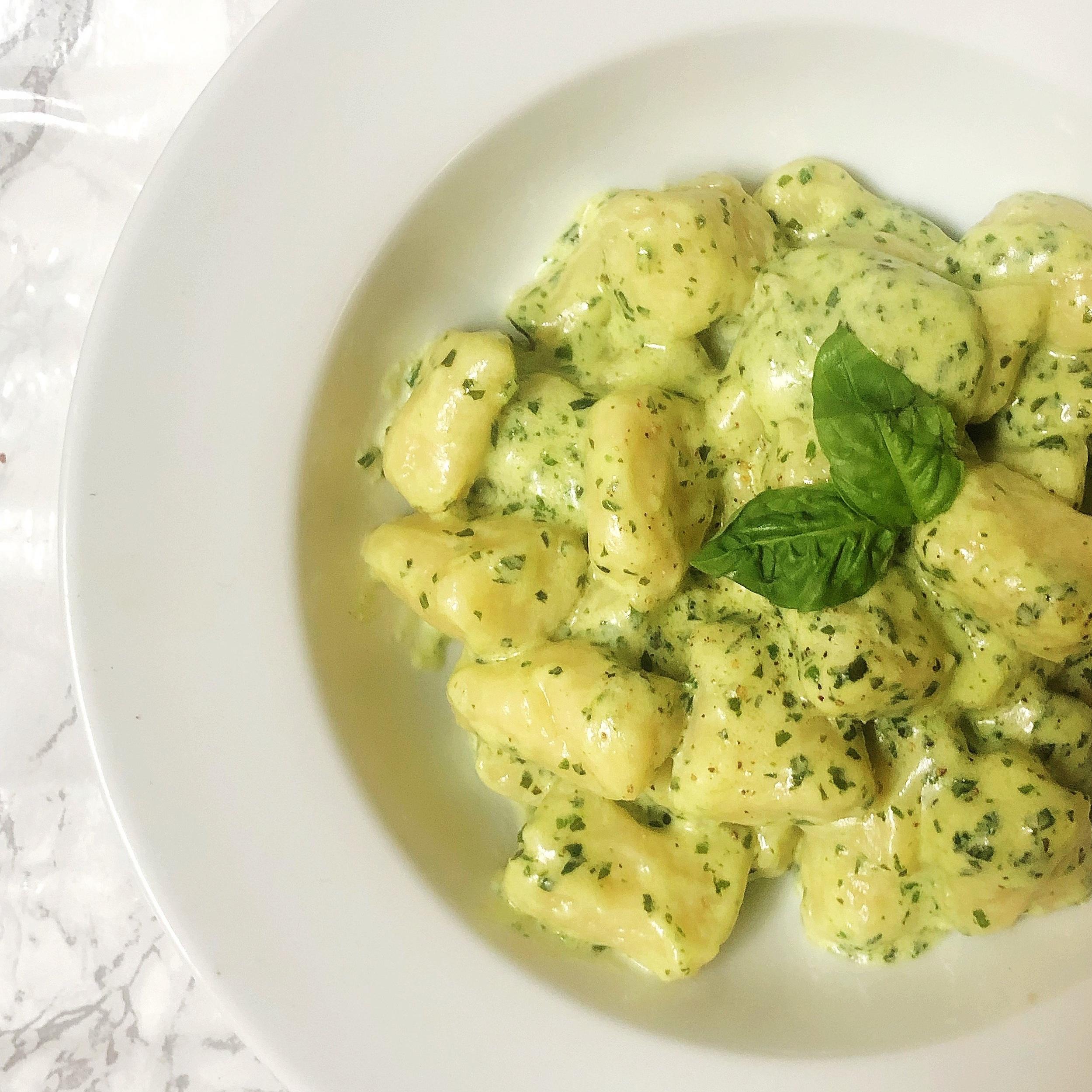 Gnocchi with Pesto Cream Sauce -