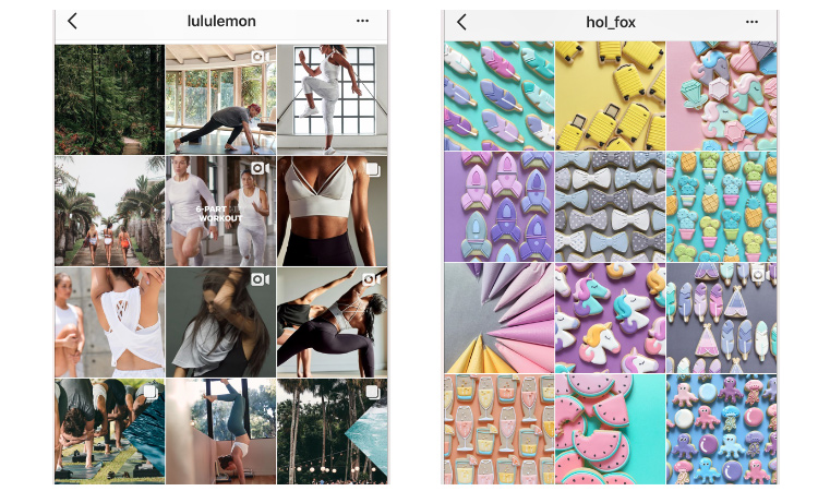 Lululemon incorporates greens and blues into it's otherwise grey-neutral palette. Holly Fox does an amazing job at coordinating her posts so that she shows many bright and pastel colors that are all well balanced within the page's design.