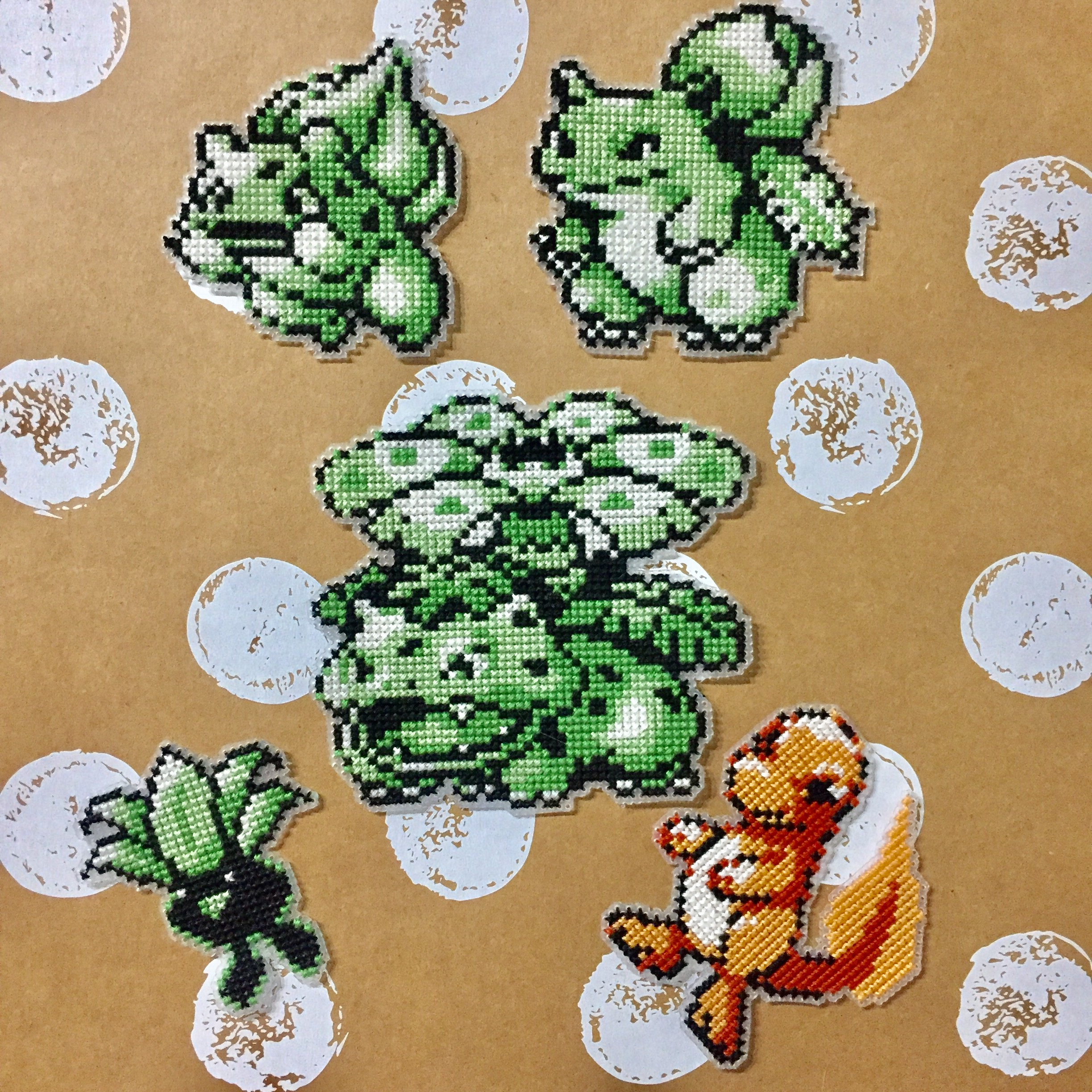Pokemon stitched on 14 ct plastic Aida with 2 strands of DMC floss