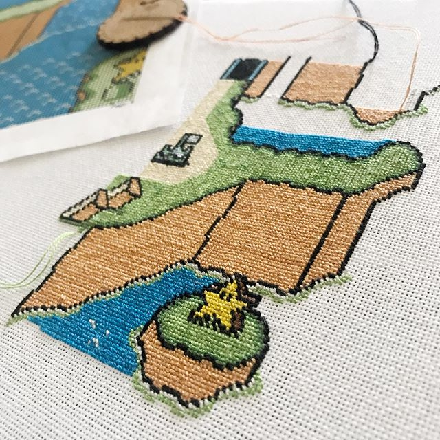 Now that things are settling into a more predictable pace for me, I wanted to break out this massive project I started two years ago and haven't touched. I'm using a scroll frame for the first time and I'm loving how hands free it is and that I can keep my pattern right by my side. I also just ordered some @dmc_embroidery cones for the first time thanks to the sale @joann_stores is having online! Lots of firsts happening in the midst of this image that brings me familiarity and comfort. I got this pattern for free on Sprite Stitch - does anyone use Sprite Stitch? If not it's an amazing resource of nerdy patterns. This one is by funkymonkey 🎮