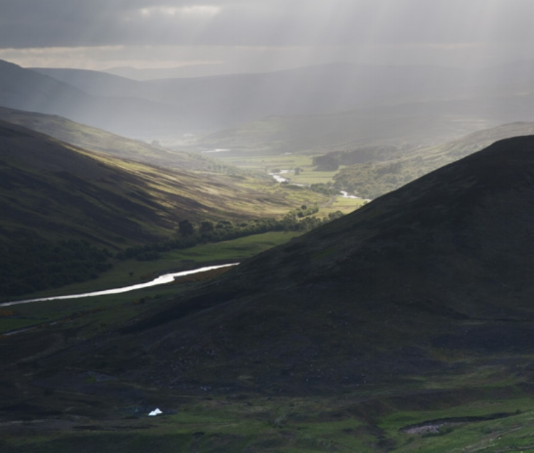 Shadows in the Strath of Kildonan, photo by Carolyn Leffley