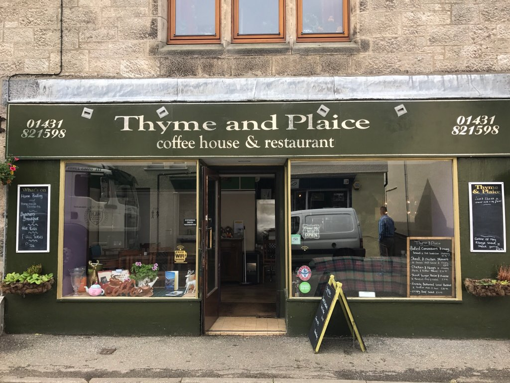 THYME AND PLAICE     Thyme and Plaice has an eclectic and ever changing menu using fresh, locally sourced fish, seafood and venison. Additionally, Chef Rob caters imaginatively for vegetarians, vegans and those with with food intolerances.