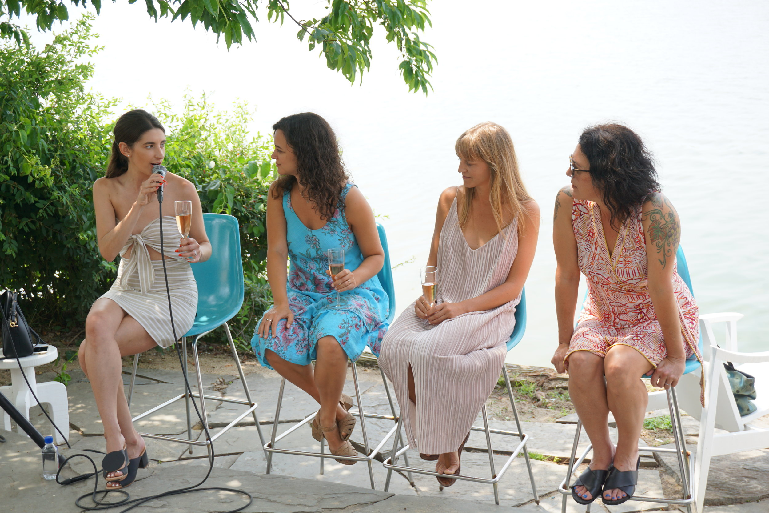 """The Rosé Project 'Women in Wine"""" Panel at The Surf Lodge, moderated by wine writer Marissa A. Ross , along with panelists Kimberly Prokoshyn, Ashleigh Parsons, Amy Atwood and Kimberly Prokoshyn. Photo: Jake Greenblatt."""